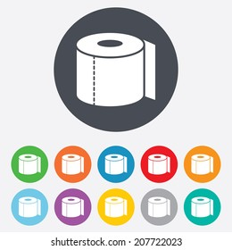 Toilet paper sign icon. WC roll symbol. Round colourful 11 buttons. Vector