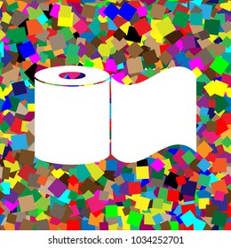 Toilet Paper sign. Vector. White icon on colorful background with seamless pattern from squares.