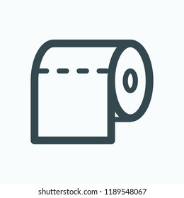 Toilet paper vector icon, toilet paper roll linear icon