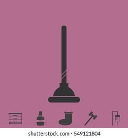 Toilet Plunger icon flat. Simple vector grey pictogram and bonus symbol