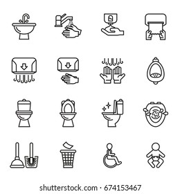 Toilet Public Sign Symbol Icon Pictogram. Line Style stock vector.