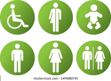 toilet restroom icon symbol vector illustration male female unisex handicap and baby