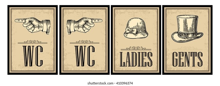 Toilet retro vintage grunge poster. Ladies, Cents, Pointing finger.  Vector engraved illustration on a beige background.  For bars, restaurants, cafes, pubs.