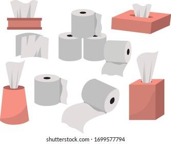 Toilet roll art. Toilet paper. Paper napkin box