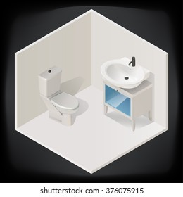 toilet room interior with washbasin isometric view isolated on dark background vector illustration icon.