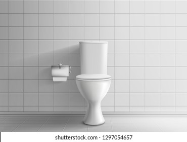 Toilet room minimalistic interior with tiled wall and floor 3d realistic vector mockup. Classic ceramic toilet bowl with water tank and paper on roll holder illustration. House plumbing system element