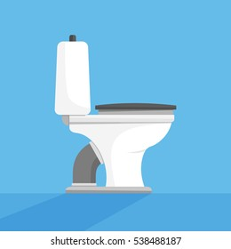 Toilet seat, bowl side view flat style design vector illustration on blue background with shadows. Restroom, lavatory, privy, loo, closet.