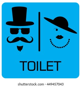 toilet Sign, Fitting room sign flat icon illustration, lady and gentleman symbol, toilet blue black background.