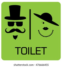 toilet Sign, Fitting room sign flat icon illustration, lady and gentleman symbol, toilet green background.