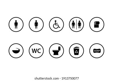 toilet sign vector icons set. boy or girl restroom wc. sink, tissue, wheel chair vector Illustration.