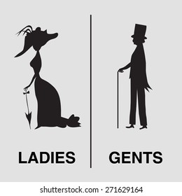 Toilet Sign in vintage style. lady and gentleman symbol. Vector silhouettes (for WC use for example)