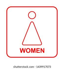 Toilet sign. WC  women illustration