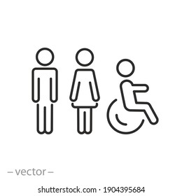 toilet signage icon, wc or bathroom for various gender, signs of men women and wheelchair for restroom, thin line symbol on white background - editable stroke vector illustration eps10