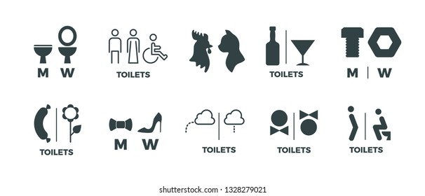 Toilet signs. He she WC door symbols, man and woman bathroom direction signs. Vector funny icons of restroom pictogram set