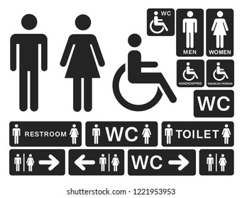 Toilet signs man and woman wc