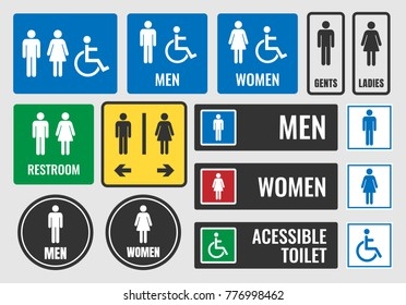 toilet signs and restroom icons, wc symbols