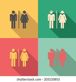 Toilet signs - set of male & female icons as toilet or restroom signs in vintage style colors