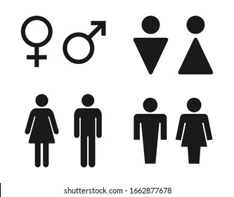 toilet signs set with man and women, restroom icons
