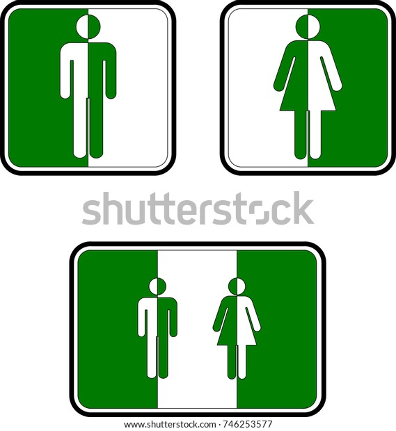 Toilet signs white and green
