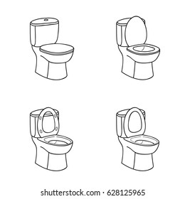 Toilet Sketch Sign. Toilet bowl with Seat. Doodle Line Icon Set.