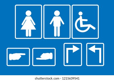 toilet symbol vector. blue backgtound.