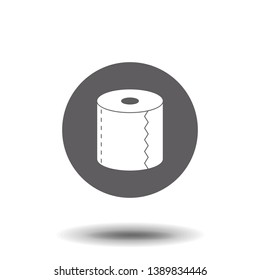 Toilet tissue paper roll flat vector icon for apps and websites