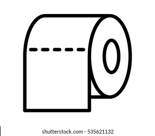 Toilet tissue paper roll line art vector icon for apps and websites