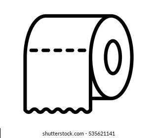 Toilet tissue paper roll with ridges line art vector icon for apps and websites