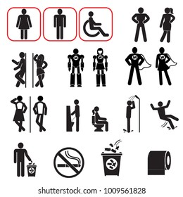 toilet vector icons set, boy or girl restroom symbols