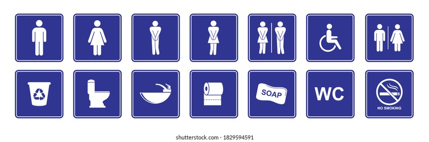 toilet vector icons set, boy or girl restroom wc. Funny toilet couple signing, desperate pee woman man wc icons Vector Illustration
