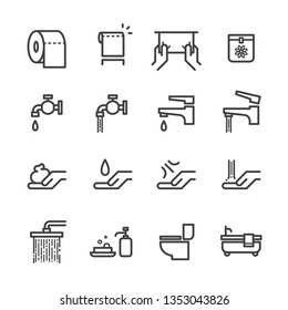 Toilet Vector Icons Set, Simple Flat Thin Line Style. Signage for Restroom or bathroom. Contained Soap, Toilet Paper, Toiletries, Sanitary Bag and Napkin, Shower and bathtub.