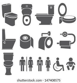 toilet vector set, toilet icons set