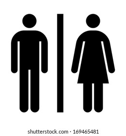 Toilet, wc, restroom sign isolated on white background