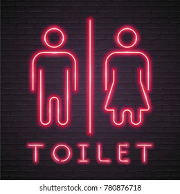Toilet WC Sign Icon Neon Light Glowing Woman and Man Symbol Neon Red Glowing
