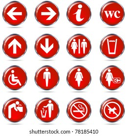 Toilet wc sign set. Round red information sign set for restrooms. Isolated on white. Vector
