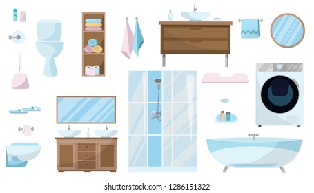 Toiletries set of Furniture, sanitation, equipment and articles of hygiene for the bathroom. Bathroom furniture set isolated on white background. Sanitary ware. Flat cartoon vector illustration