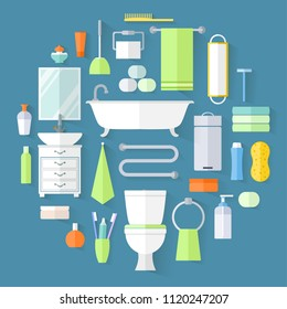 Toiletries set of icons. Vector illustration. Furniture, sanitation, equipment and articles of hygiene for the bathroom.