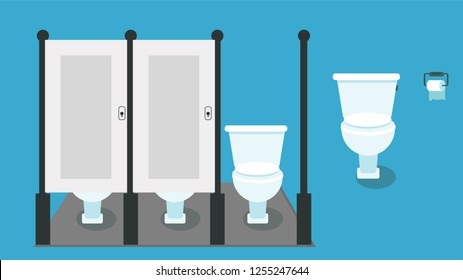 Toilets flat style. Vector illustration of toilets with toilet paper.
