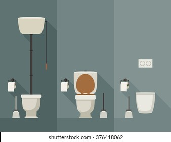 Toilets with long shadow in flat style. Vector simple illustration of toilets with toilet paper and brush.