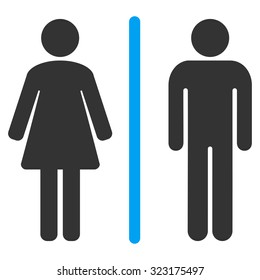 Toilets vector icon. Style is bicolor flat symbol, blue and gray colors, rounded angles, white background.