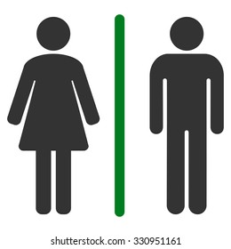 Toilets vector icon. Style is bicolor flat symbol, green and gray colors, rounded angles, white background.