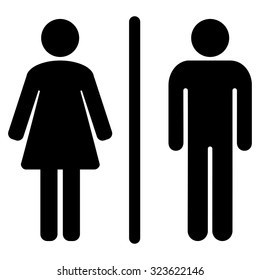 Toilets vector icon. Style is flat symbol, black color, rounded angles, white background.