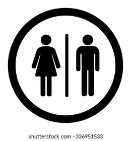 Toilets vector icon. Style is flat rounded wc symbol, black color, rounded angles, white background. Restroom illustration includes lady and gentleman figures.