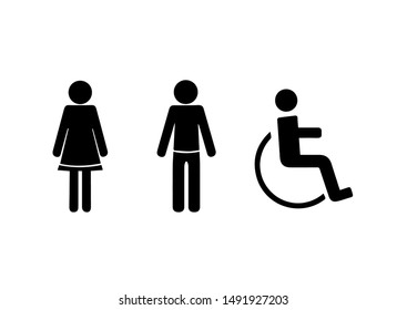 Toilets vector icon. Style is flatrounded wc symbol, black color, blue color, white background. Restroom illustration, includes lady and gentleman  figures.