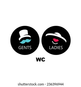 Toilets vector sign male and female toilets sign isolated on a white background