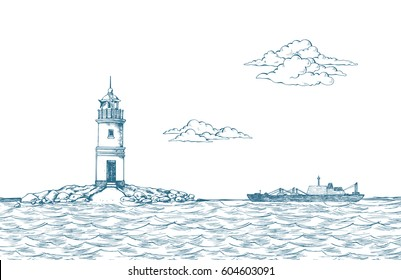 Tokarevskiy lighthouse in Vladivostok. Vector illustration. Traced image. Sea. It can be used as background on the web site or in the design of postcards, leaflets and other printed products