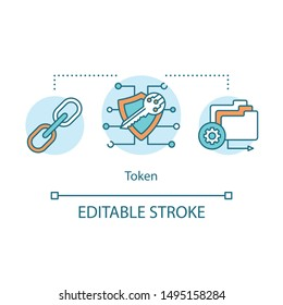 Token concept icon. Initial coin offering idea thin line illustration. Blockchain asset. Security cryptotoken offering. Crowdfunding platform. Vector isolated outline drawing. Editable stroke