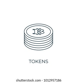 Tokens Line icon. Simple element illustration. Tokens symbol design from Cryptocurrency collection. Can be used in web and mobile.