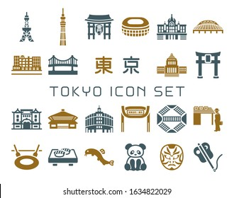 Tokyo, the capital of Japan vector icon set. /It is written in Japanese as
