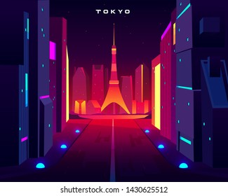 Tokyo city night skyline with television tower view in neon illumination. Metropolis architecture, modern megapolis with glowing skyscrapers along lightened road. Cartoon vector illustration